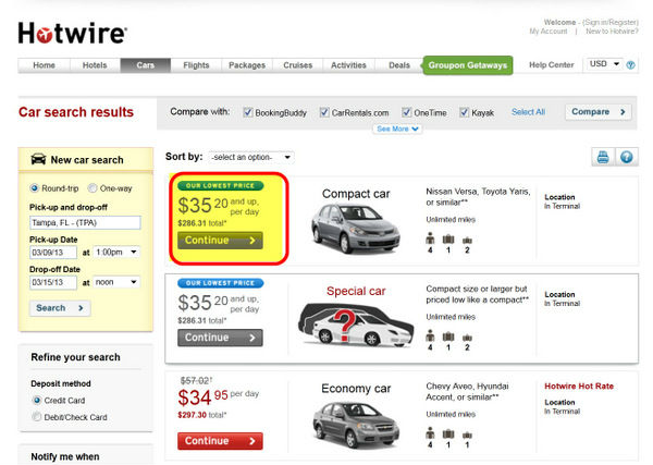 hotwire rental cars